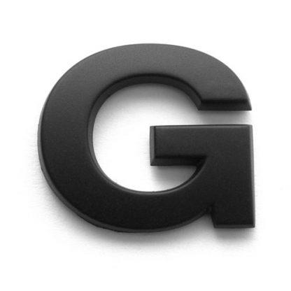 G, 3D Kunststoffbuchstabe, selbstklebend, mattschwarz