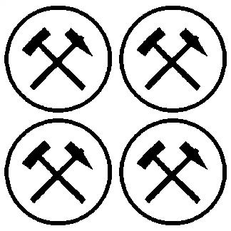 4x Folien Aufkleber Glück Auf Schlägel und Eisen Bergmann